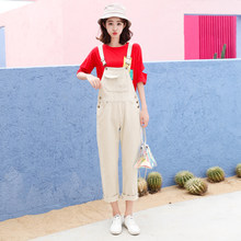 37c58efc6235 Beige Regular Washed Women s Jeans Jumpsuits For Preppy Style Denim Overalls  Pockets Casual Korean Jumpsuits Denim Solid Female