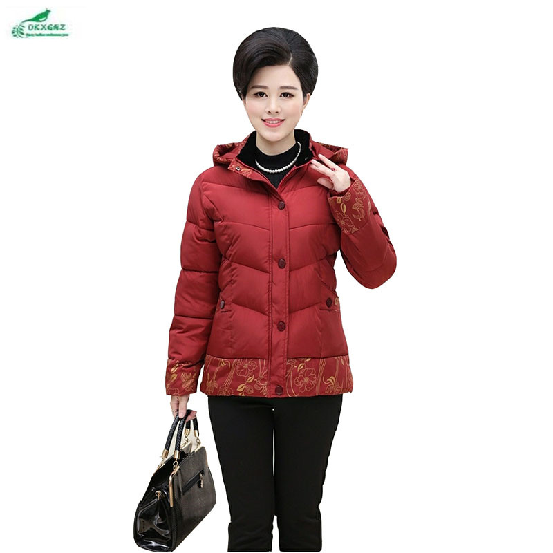 Middle - aged winter new women cotton short Outerwear Plus size amount loose Slim cotton jacket coat women  4XL OKXGNZ QQ1049