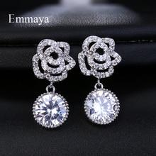 Emmaya Fashion Silver Dazzling Zircon Round Memory Flower Stud Earrings for Women Wedding Party
