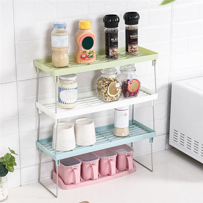ISHOWTIENDA Closet Organizer Storage Shelf Wall Mounted Kitchen Rack Space Saving Wardrobe Decorative Shelves Cabinet Holders