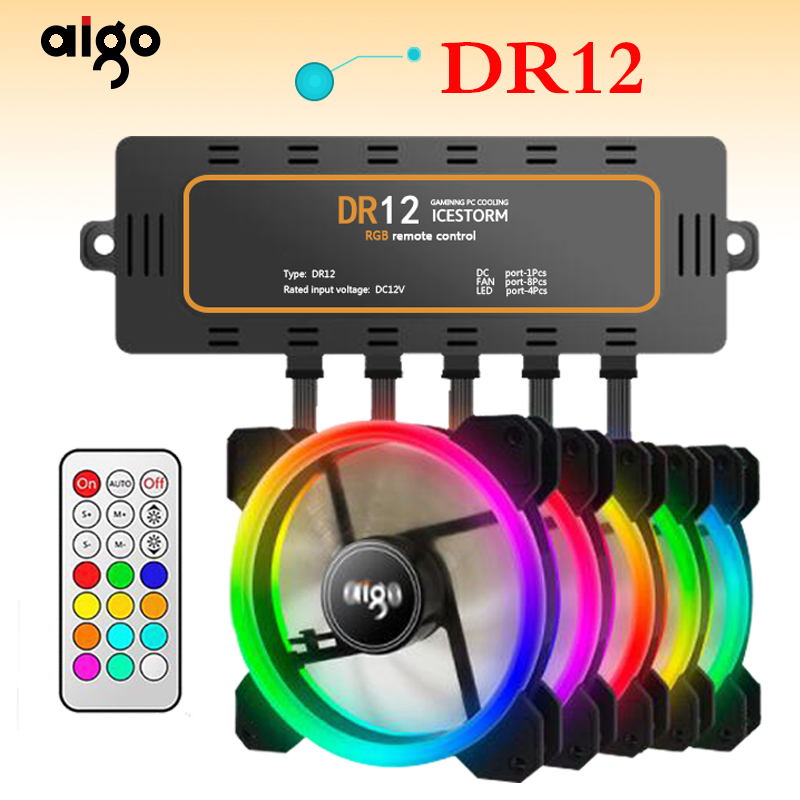 aigo dr12 8pcs computer case pc fan rgb dual led ring 120mm silent IR remote controller