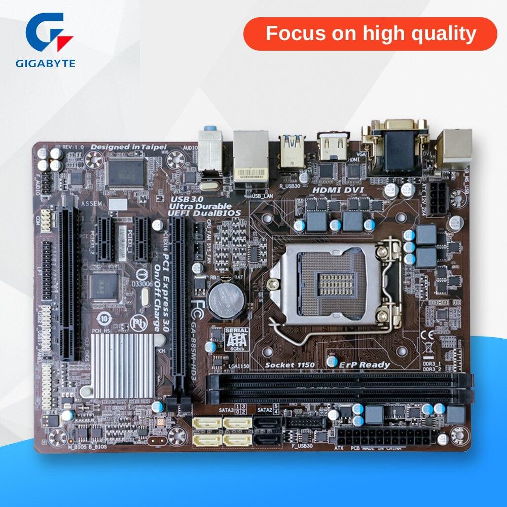 Gigabyte GA-B85M-HD3 Original Used Desktop Motherboard B85M-HD3 B85 Socket LGA 1150 i3 i5 i7 E3 DDR3 Micro-ATX gigabyte ga b85m d3v a original used desktop motherboard b85m d3v a b85 lga 1150 i3 i5 i7 ddr3 16g micro atx