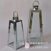 European stainless steel glass candlestick candle windproof lantern outdoor floor courtyard home furnishing stores