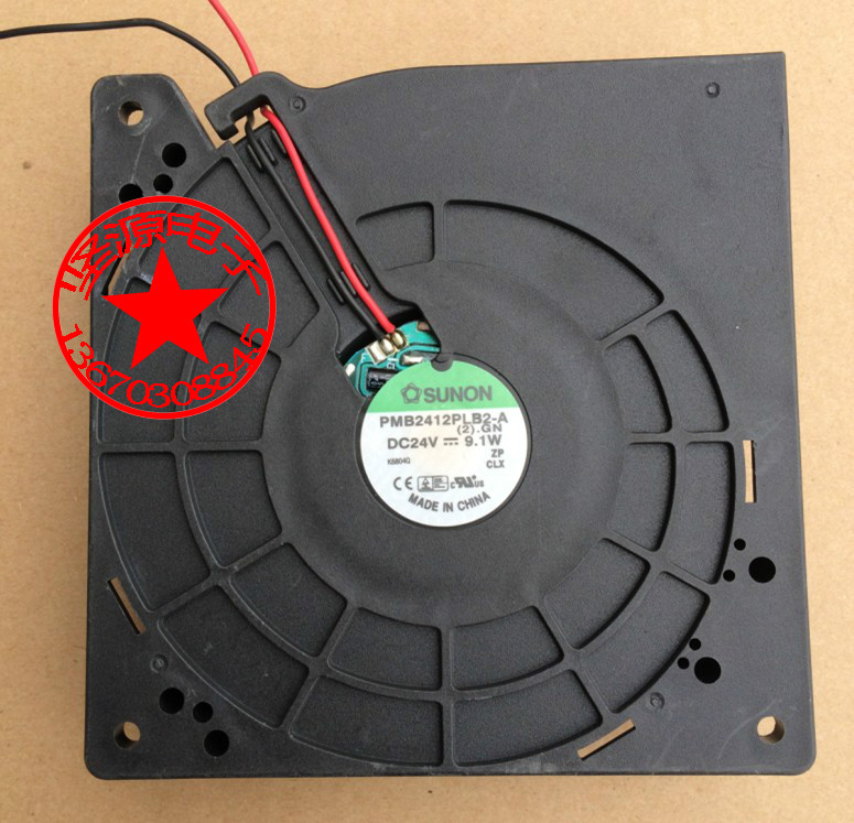 SUNON PMB2412PLB2-A (2).GN DC 24V 9.1W Server Square Fan free shipping for sunon psd1206pwb1 a 2 b2443 f gn dc 12v 2 5a 8 wire 12 pin 100mm 60x60x60mm server square cooling fan