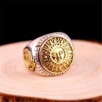 Real 925 Sterling Silver Men Ring Gold Color Sun God Smile 3D Dinosaur Sculpture Adjustable Size Vintage Punk Handmade Jewelry