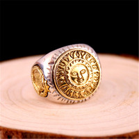Real 925 Sterling Silver Men Ring Gold Color Sun God Smile 3D Dinosaur Sculpture Adjustable Size Vintage Punk Handmade Jewelry