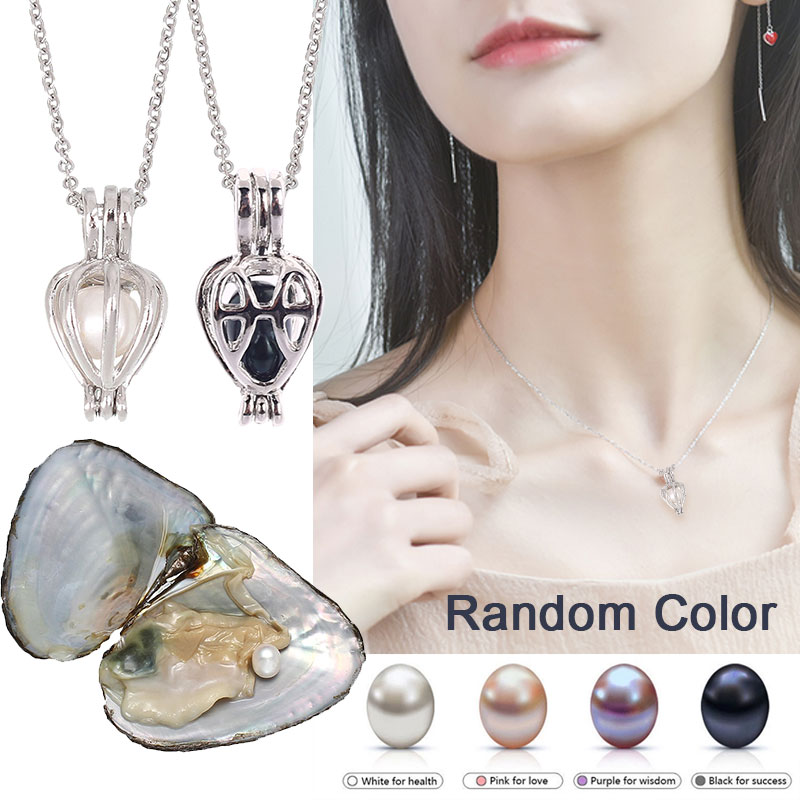 12 Constellation Love Wish Pearl Necklace Oyster Heart Pendant Kit Women Gift