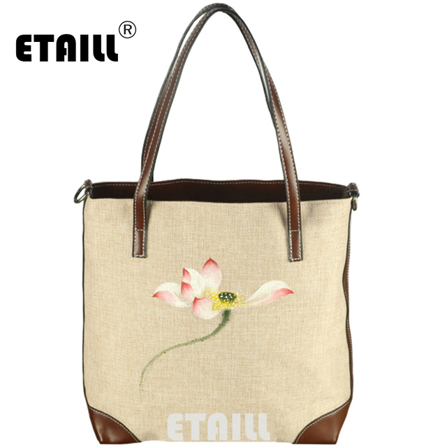 65abaf504a ETAILL National Hand Painted Shoulder Bag Luxury Designer Cotton Canvas Tote  Bag Travel Shopping Women Handbags