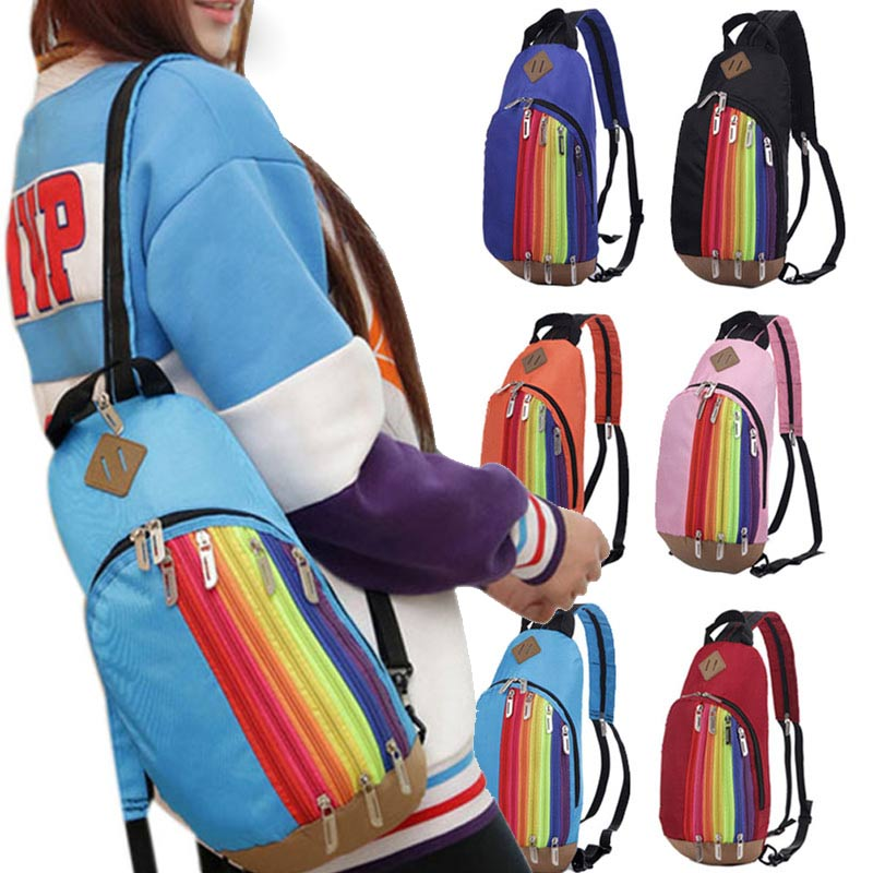 2016 Nylon Rainbow Pattern Chest Bags Casual 2 in 1 Functional Shoulder Bag&Backpack Belt Bag for Women Girls WML99