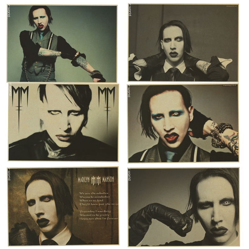 Marilyn Manson Poster Retro Rock Poster Wall Sticker Bar Wall Decoration Kraft Paper Wall Stickers