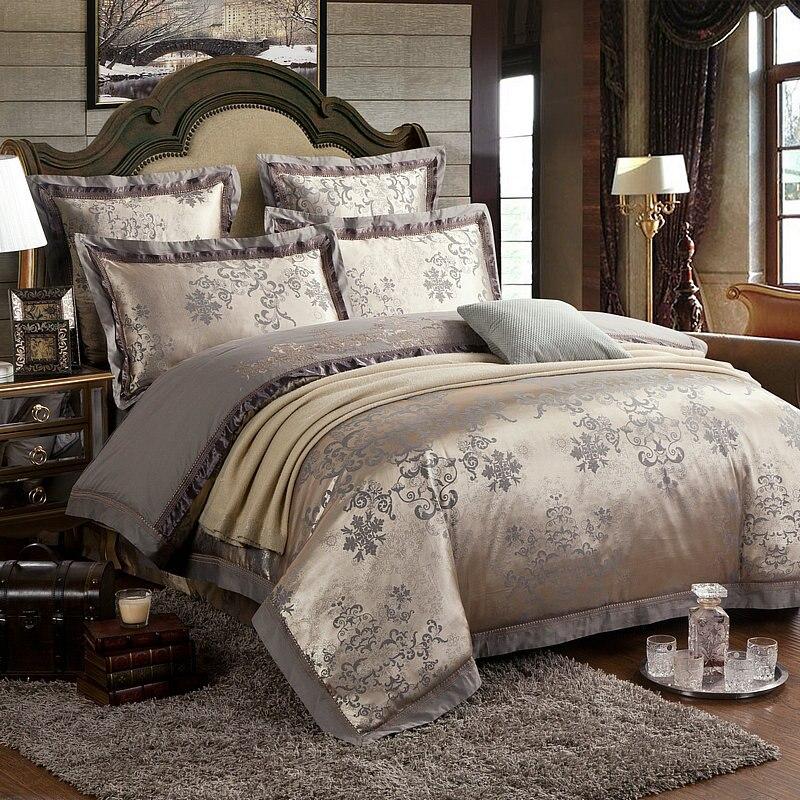 Jogo de cama de luxo King size Rainha 4/Bedsheet42 6 pcs Cama de Cetim de Algodão de Seda set capa de Edredão - 2