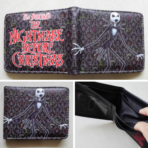 2018 Canton The Nightmare Before Christmas Logo wallets Purse Multi Leather W217 2018 movie the terminator t850 skull logo wallets purse multi color 12 cm leather w211