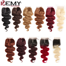 99J/Burgundy Red Color 4*4 Lace Closure Brazilian Body Wave Human Hair Free/Middle Part Swiss Non- Remy Weaves