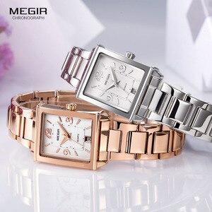 Image 5 - Megir WOMENS สแตนเลสสตีลนาฬิกาควอตซ์พร้อมปฏิทินวันที่แสดงแฟชั่นกันน้ำนาฬิกาข้อมือสำหรับ Ladies1079L