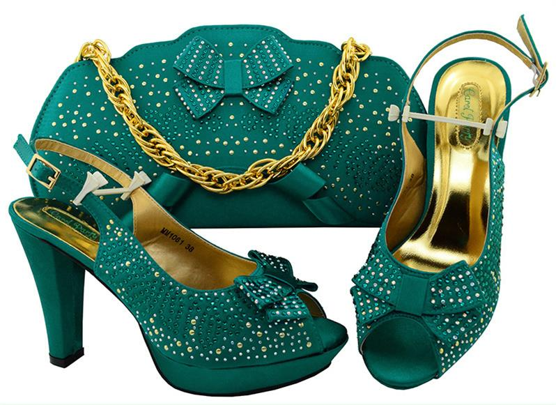 Teal Color Italian Shoes with Matching Bags Set Decorated with Rhinestones African Wedding Shoes and Bag Supper high heel MM1061Teal Color Italian Shoes with Matching Bags Set Decorated with Rhinestones African Wedding Shoes and Bag Supper high heel MM1061