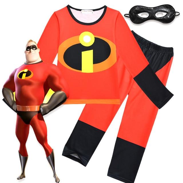973c5b88b Boys Girls Pajamas Set Full Sleeve Shirt +Pants The Incredibles 2 Mr. Incredible  Bob Parr Kids Casual Home Wear Cosplay Costume