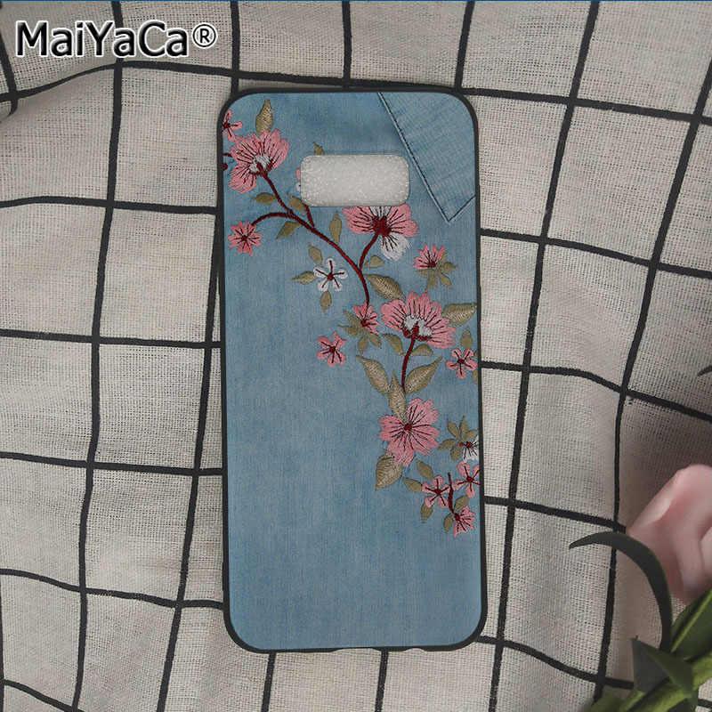 Coque de téléphone MaiYaCa mode imprimé Denim broderie fleur serpent pour samsung galaxy s9 plus note5 note8 s7 s6 s8 plus