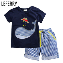 2017 New Summer Kids Clothes Children Clothing Baby Boy Set Toddler Boys Cotton Knitted Striped Shorts