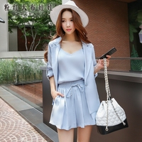 Dabuwawa Suit Women 2017 New Autumn Sky Blue Solid Fashion Casual OL Three Piece Set Women