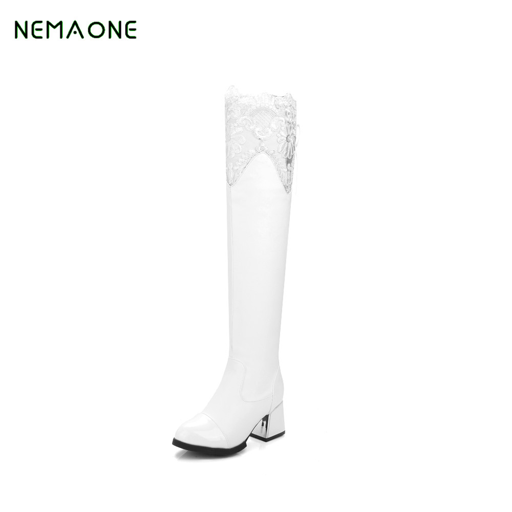 NEMAONE NEW Boots Women Snow Knee High With Cotton Boots For Women Winter Warm Shoes Long