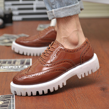 ZHAIZUBULUO Men Brogue Oxford Shoes High Quality Carved Leisure Shoes British Fashion Leather Casual Shoes Lace Up Bullock Flats