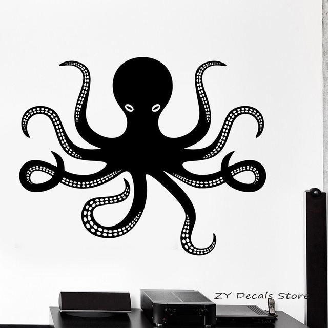 Aliexpress Com Buy Octopus Wall Decals Marine Sea Wall Stickers For Bedroom Nursery Children S Room Wall Decor Decorative Arts Mural L320 From