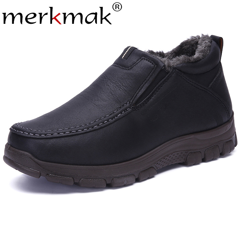 Merkmak Leather Warm Men's Boots Plus Velvet Slip On Ankle Boots Man Soft Comfortable Casual Male Work Boots Big Size38-48 Shoes