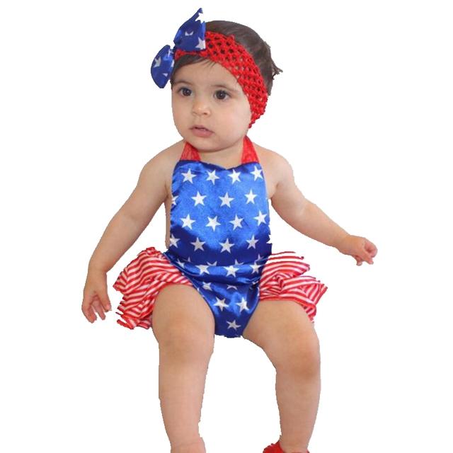 3e4a9208c915 6M 4th Of July Outfits Children s Toddler Jumpsuit Headband Newborn Baby  Girl Summer Clothes Sets Fashion Infant Clothing