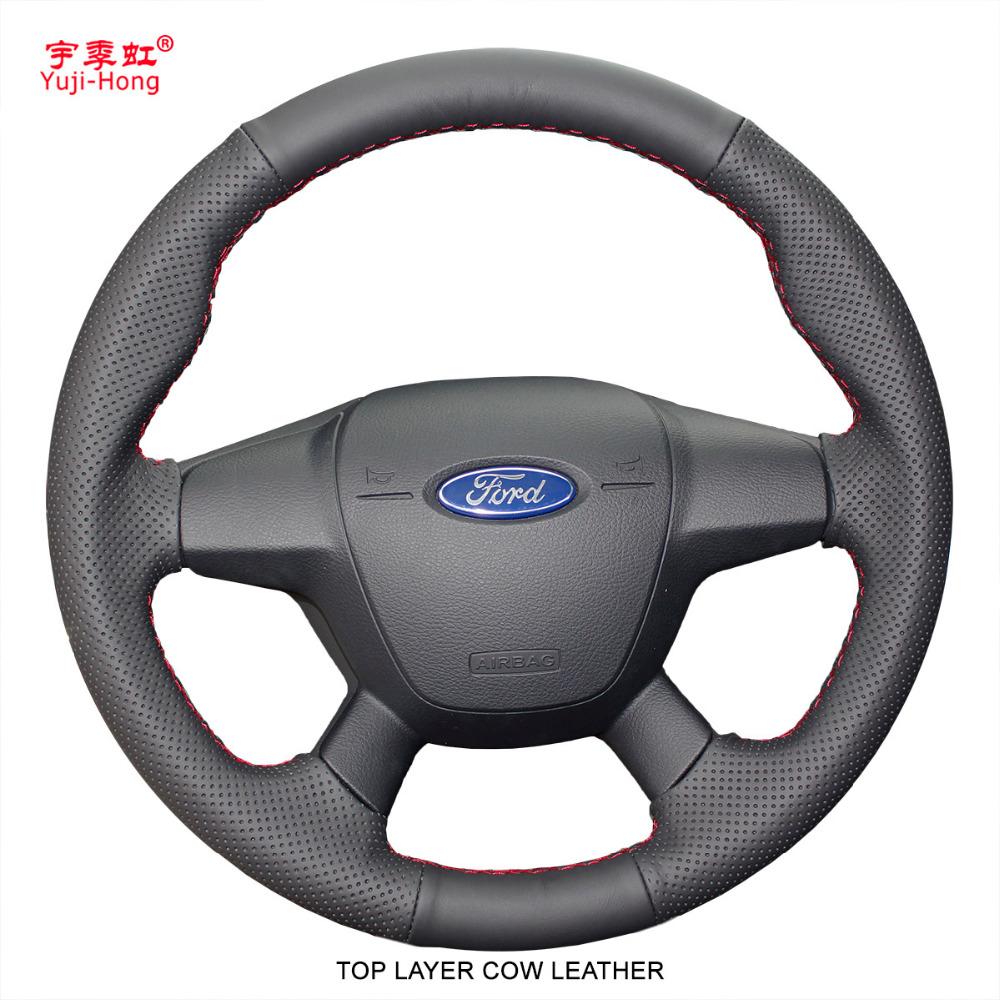 Yuji Hong Top Layer Genuine Cow Leather Car Steering Wheel Covers Case for Ford Focus 2012