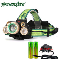 Skywolfeye LED Headlamp 4 Modes 20000 Lumens Headlight T6 4Q5 Camping Head Torch Zoom 2x18650 Rechargeable