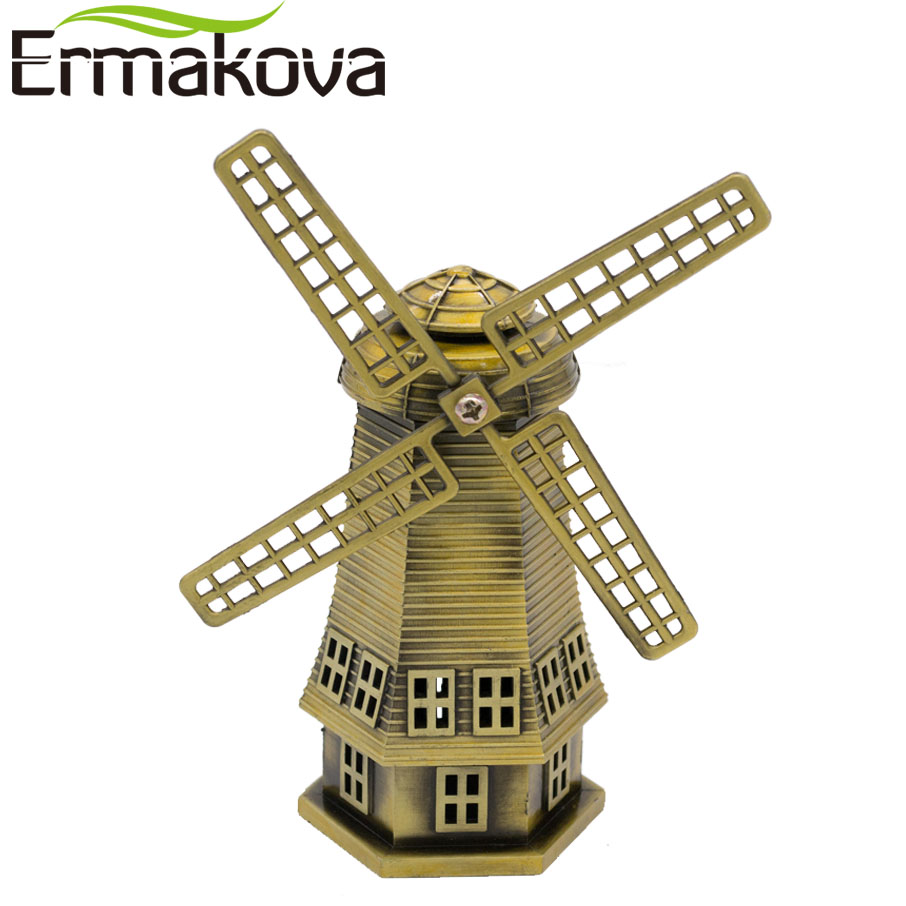 product ERMAKOVA 14cm(5.5\) Antique Bronze Dutch Windmill Model Metal Figurine Furnishing Articles Holland Windmill Home Decor Ornaments