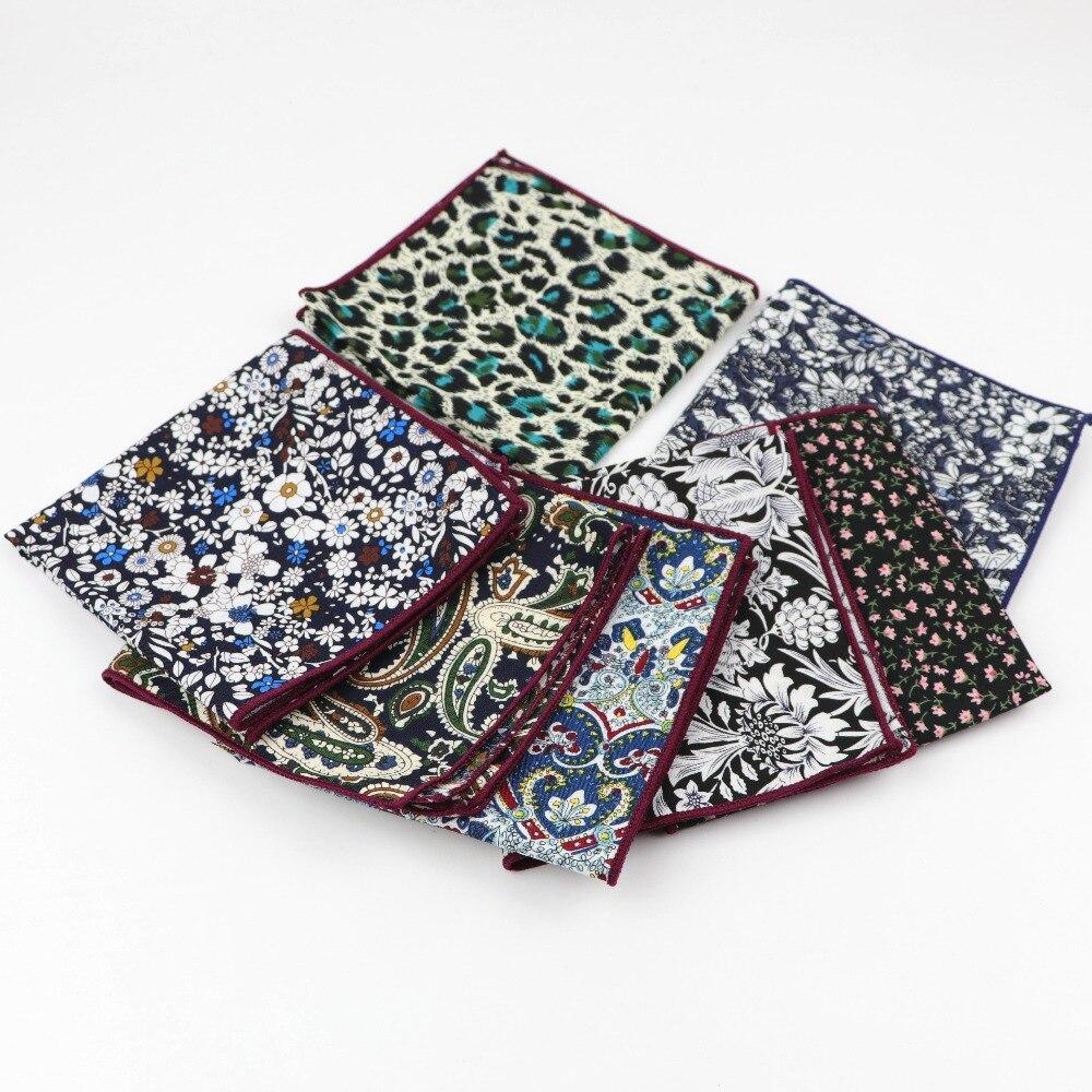 Men Suits Cotton Self Bowtie Handkerchiefs Colorful Flower Pocket Square Hankies Business Casual Square Pockets Hanky 23*23cm