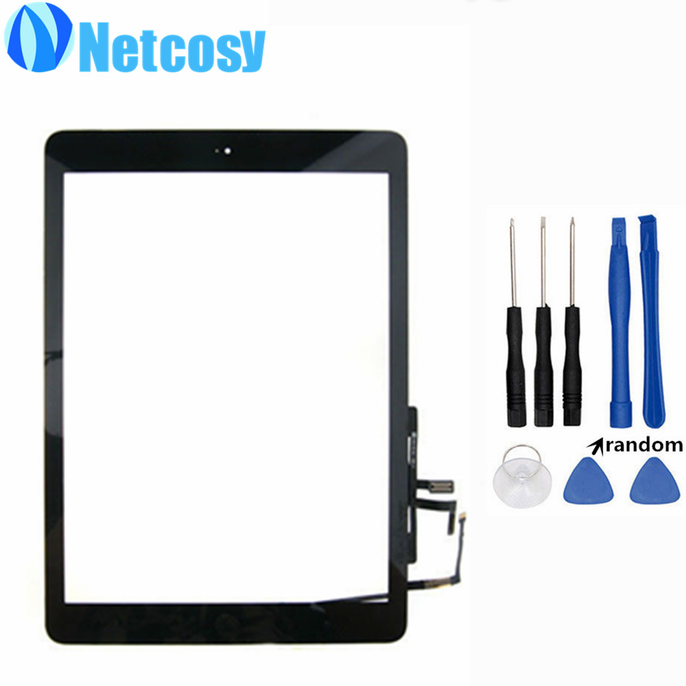 For ipad Air Touch Screen Digitizer panel Assembly & Home Button replecement parts For ipad 5 Tablet touch panel & Free tools
