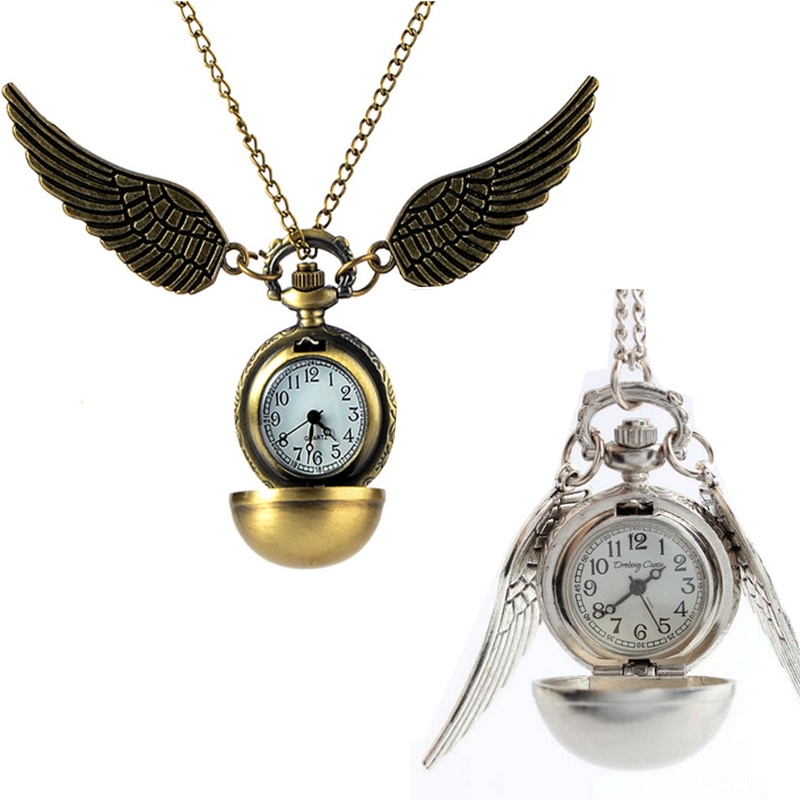 Vintage Angel Wings Quartz Pocket Watch Charming Men's And Women's Watches Gold Silver Ball Necklace Pendant Clock Chain