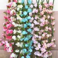 6pcs Cherry Flower Vine Begonia Cherry 180cm Long Fake Sakura Vines For Wedding Party Home Artificial