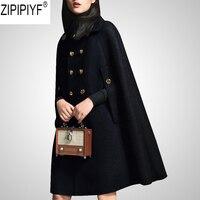 New Winter Cloak Double Breasted Woolen Coat For Women Turn Down Collar Long Sleeve High Street Femme Black Long Coat C2539