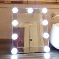 Hot LED Illuminato Specchio Per Il Trucco Dimmer Stage Lampada Da Tavolo Tocco di Bellezza
