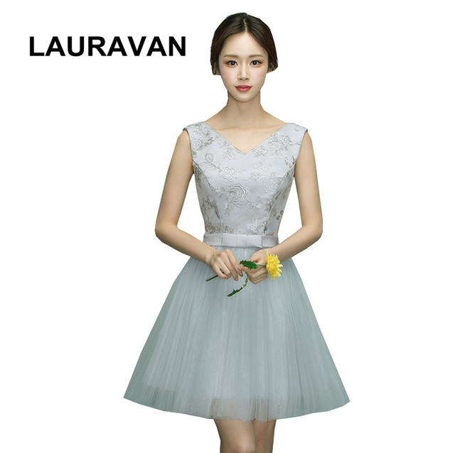 country vintage v neck lace up teen gray bridesmaid dress bridemaid robes  elegant dresses short ball gown for wedding guests f13fe70810bf
