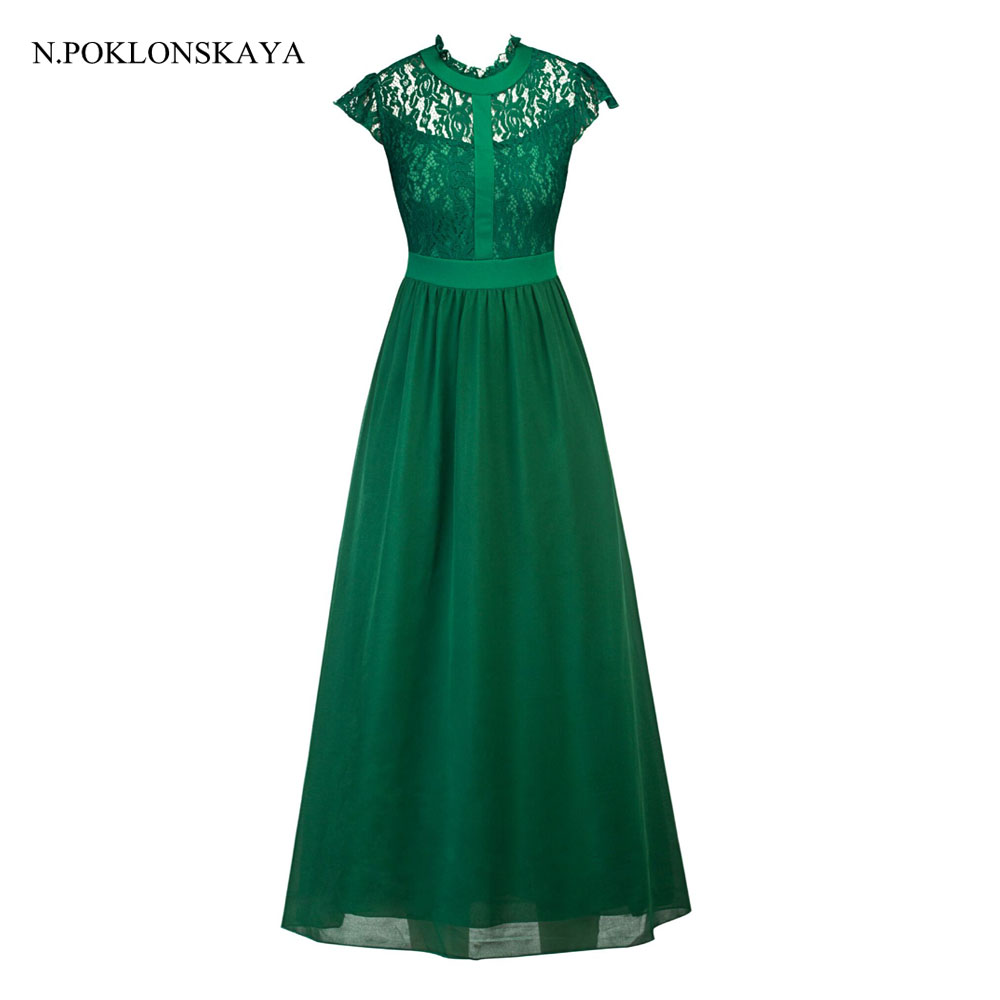 2017 Long Lace Christmas Dress Vintage Evening Party Dresses For Women Wedding Sexy Maxi Dress Women's Clothes Elegant Vestidos