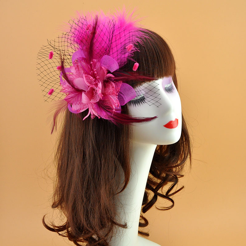 Fascinators Hats for Womens Headdress Flower Cocktail Wedding Tea Party Derby Hat Feather Mesh Net Veil Bridal Hair Accessories