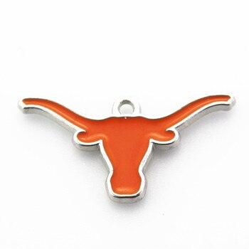 Venta caliente 10 unids/lote American Sport Longhorns Charm Dangle Charms accesorio de joyería para manualidades brazalete esmaltado colgante Charms