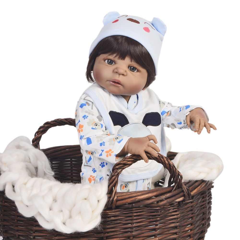 """23 """"57 см полный силиконовые куклы Reborn Младенцы Bebe, живой модный дизайн Кукла-мальчик черная кожа Дети Лучшие подарки"""