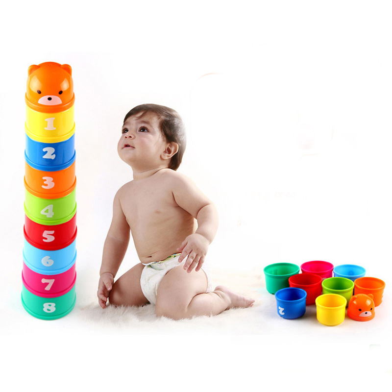 9 PCS/Set Jenga Cups Puzzle Board Game Family/Party Best Gift for Children ABS Plastic Funny Building Blocks Game