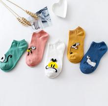 Free Shipping Women Sock Slippers Animal Cat Cartoon Short 100% Cotton Invisible socks Breathable Casual Ladies Funny S145 цены