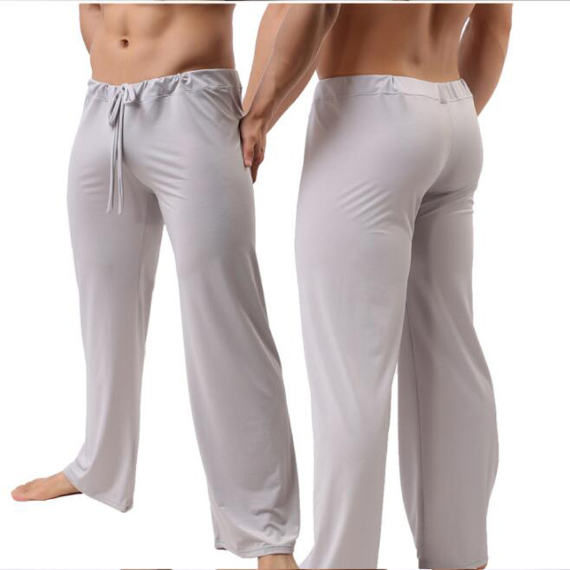Men Home Pants Low - Waist See Through Transparent Loose Slippery Pajama Pants Male Ice Silk Loungewear Sexy Lingerie Gay Wear