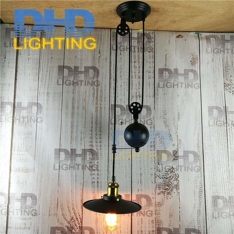 Free shipping iron pulley Retro Edison Bulb Light Chandelier Vintage Loft Antique Adjustable DIY E27 Art Ceiling Pendant Lamp hemp rope chandelier antique classic adjustable diy ceiling spider lamp light retro edison bulb pedant lamp for home