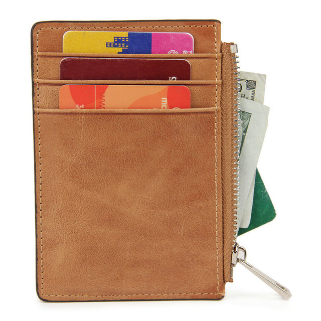 69a210562aa1 Unisex RFID Wallet for Credit Cards Genuine Leather Men Wallets Coin Pocket  Zipper Womens Coin Purse