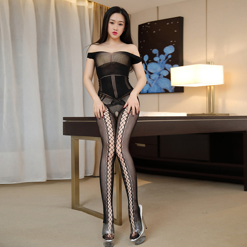 Buy Women's Sexy Underwear Erotic Mesh Hollow Bodystockings Reversible Female Lingerie Open Crotch Short-sleeve Siamese Tights