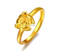 Pure 999 Solid 24K Yellow Gold Ring / Bless Goat Ring / 3.1g