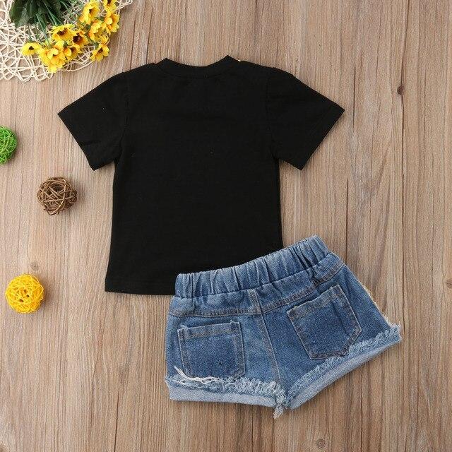 Summer Toddler Kids Baby Girl Letter Print T-shirt Tops+Sequins Denim Shorts Jeans 2PCS Outfits Children Clothing Set 6